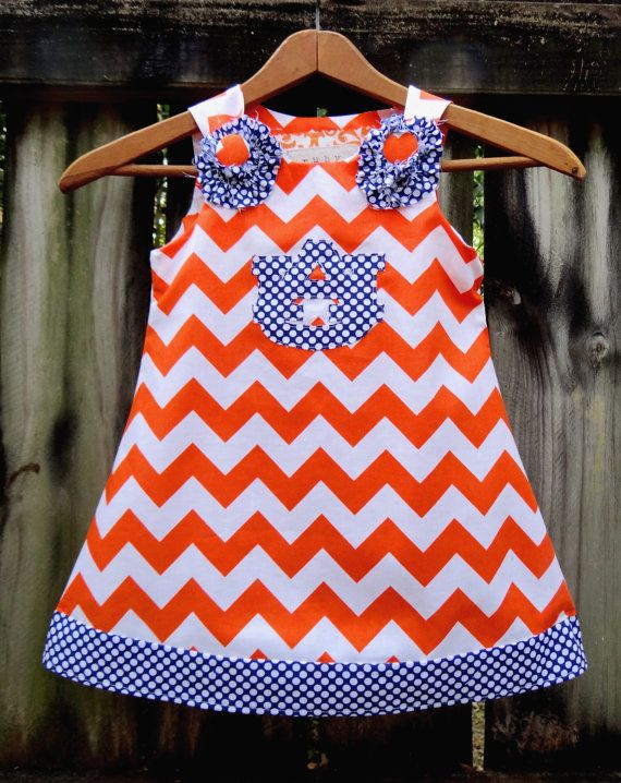 Auburn War Eagle A-Line Dress by Ruby Pearl Boutique Style Baby / Girl / Toddler Clothing, Girl /Toddler Auburn Orange Chevron Dress