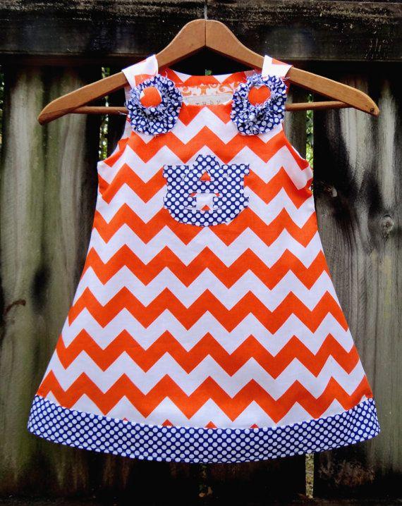 Auburn War Eagle A-Line Dress by Ruby Pearl Boutique Style Baby / Girl / Toddler Clothing, Girl /Toddler Auburn Orange Chevron Dress