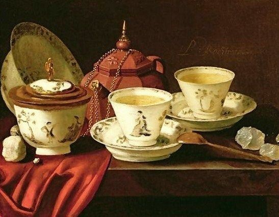 Pieter Gerritsz van Roestraten, A Yixing Teapot and a Chinese Porcelain Tete-a-Tete on a Partly Draped Ledge, 17th century, oil on canvas, Private Collection