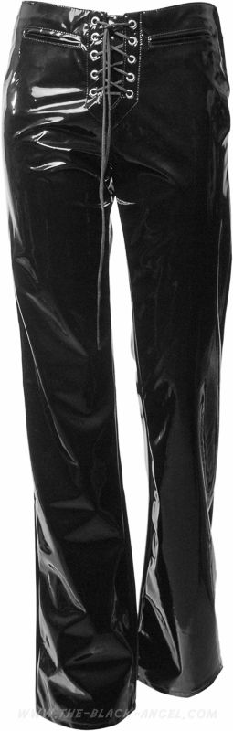 80's style PVC goth pants with front lacing, from Aderlass's Lovesect clothing line.