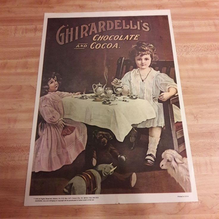 1976 Ghirardelli's Chocolate and Cocoa Paper Poster From Estate Sale