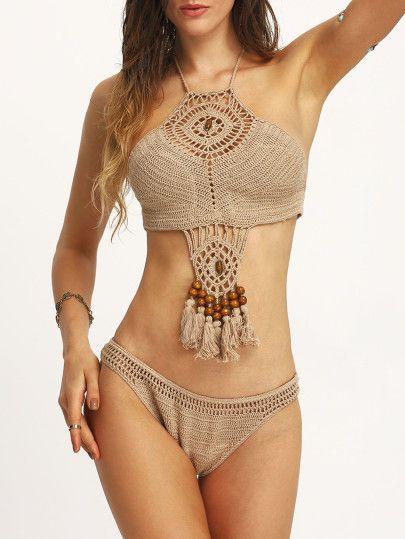 Beaded Tassel Trimmed Crochet Bikini Set - Khaki
