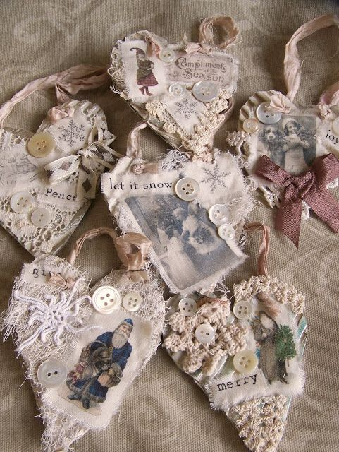 QueenBesAlteredNeeds - lace hearts for ornaments.  GREAT