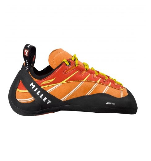 Yalla  Millet climbing shoes.  New, ultra-sensitive climbing slipper for experts. New asymmetric shape with 3D toe hook; straight profile on front inside edge for superb toe precision.