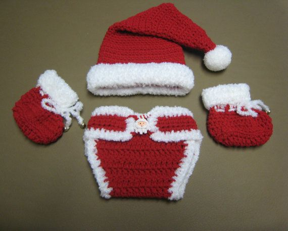Christmas SANTA Crochet Hat, Diaper Cover and Booties Set, Photo Prop