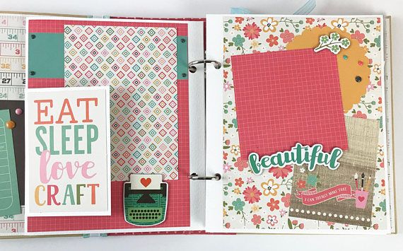 Crafting Scrapbook Album Kit or Premade Mini Scrapbook Album Crafts Scrapbooking Sewing Art Handmade Do you scrapbook? Sew? Quilt? Knit or Paint? Do you go to craft retreats with friends? Save all of these wonderful memories in this fun album! This album is available as a DIY kit