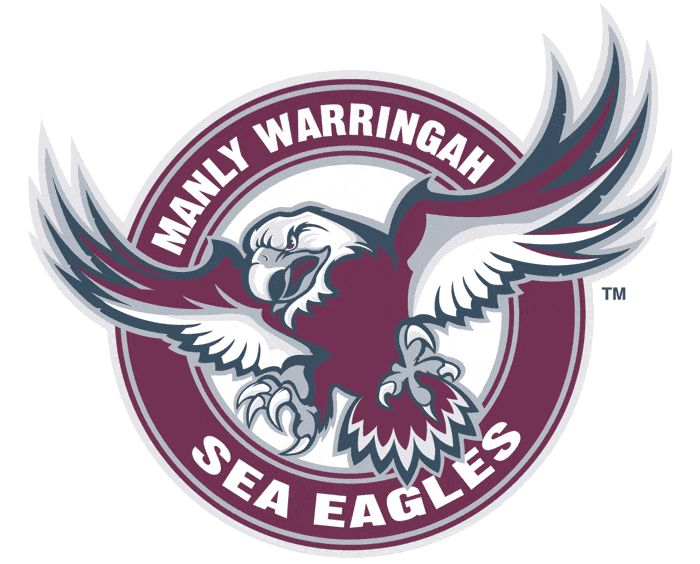 Manly-Warringah Sea Eagles Primary Logo (1998) - A burgundy eagle inside a burgundy circle, outlined in blue