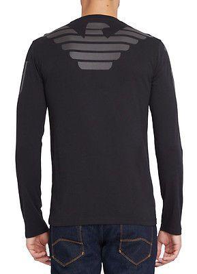NWT ARMANI JEANS Mens Slim Fit Cotton Long Sleeve Graphic T Shirt Black White