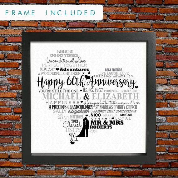 Are you looking for the perfect Wedding Anniversary gift for a fabulous couple? Then choose this lovely FRAMED personalized wedding anniversary heart design which would make a great present for such a special occasion. 60 years of Marriage is a fantastic achievement in this day and age and should be marked with a truly wonderful gift. Show how much you care by choosing this bespoke design and have it crafted with some of the most beautiful words and meanings.  ♥♥ Advantages of choosing a…