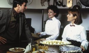 Carrie Fisher with Sam Waterston and Dianne Wiest in Woody Allen's 1986 movie Hannah and Her Sisters