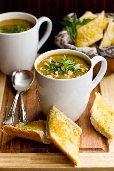 Mushroom Millet Soup with Cheezy Garlic Bread. #soup