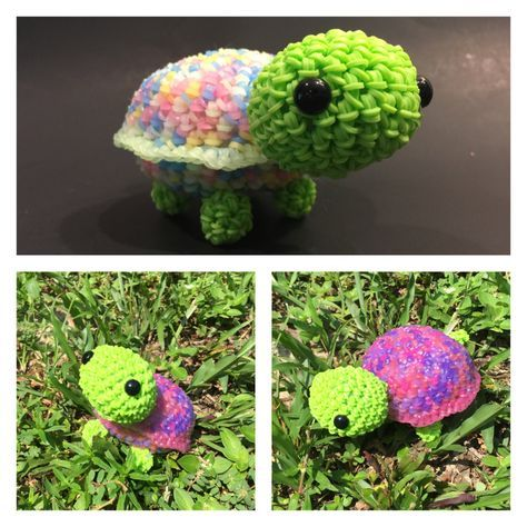 Cute Little Color Changing Turtle Rubber Band Figure, Rainbow Loom Loomigurumi, Rainbow Loom Animals by BBLNCreations on Etsy Loomigurumi Amigurumi Rainbow Loom