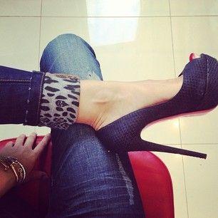 Leopard Print Cuff Jeans + Heels