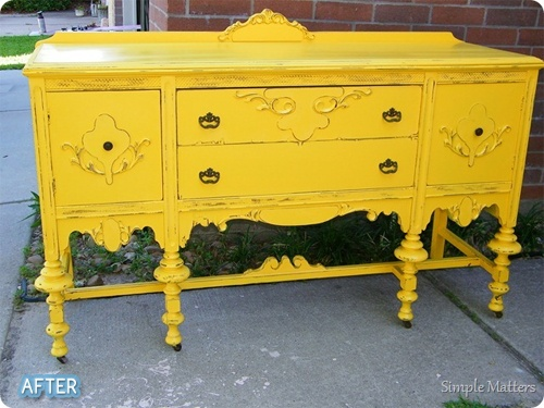 yellow!: Paintings Furniture, Buffet Tables, Decor Ideas, Bright Colour, Antiques Buffet, Yellow Buffet, Apartment Ideas, Paintings Sideboard, Bright Colors