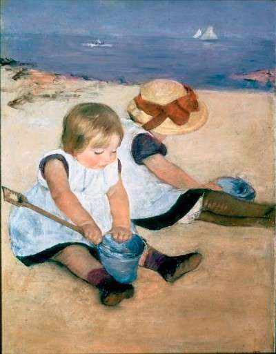 Children Playing on the Beach by Mary Cassatt    In works such as the 1884 painting Children Playing on the Beach, Mary Cassatt looked at children with an honest eye. Cassatt captured their clumsy and often random motions and gave them a real rather than a cherubic aspect