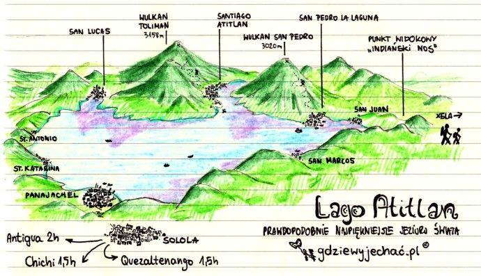 Jezioro Atitlan / Lago Atitlan, Guatemala - mapa Więcej: http://gdziewyjechac.pl/26405/