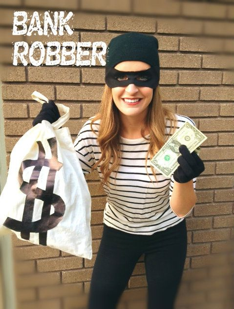bank robber cheap super easy costume idea halloween costume cheapcostume - Halloween Costume Ideas For Women Cheap And Easy