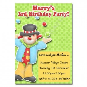 Clown Party Invitation | Personalised Party Invites