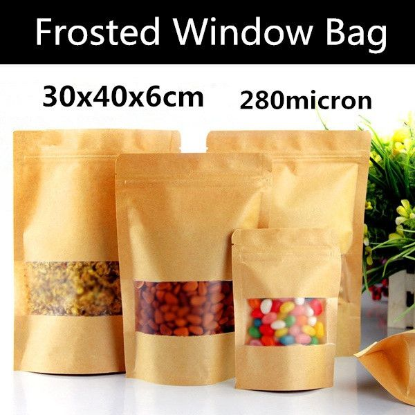 30pcs 30x40+6cm Large Frosted Window Paper Bag Paper Frosted Ziplock Bag Plastic Gift Bag Frosted Food Window Bag #Affiliate
