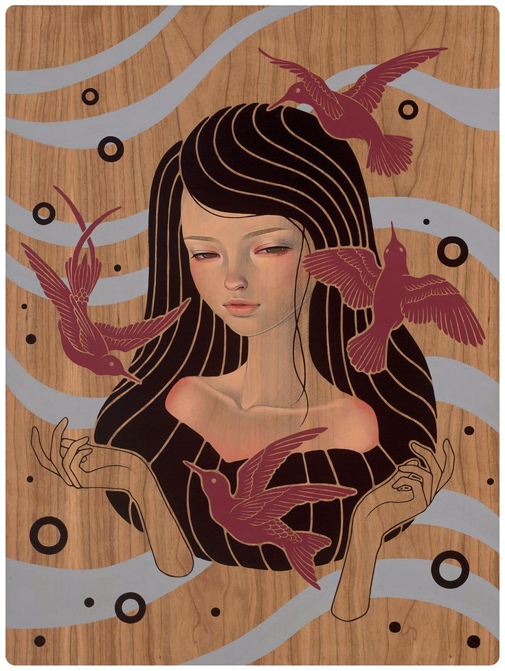 Kwasaki files: These paintings by Audrey Kawasaki, are creating using oil and graphite on wood, Audrey creates pieces influenced by both Manga comics and Art Nouveau. Description from pinterest.com. I searched for this on bing.com/images