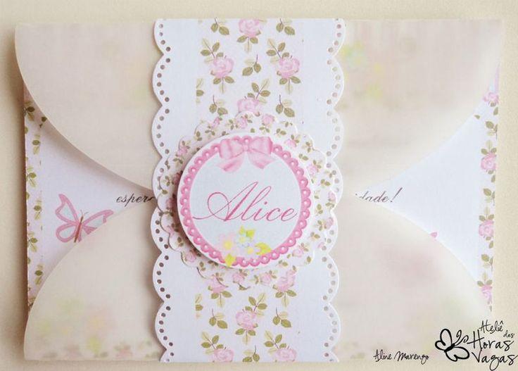 Convite artesanal Jardim encantado provençal floral rosa - Ateliê das Horas Vagas