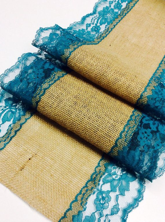 Burlap Runner with Teal/Jade Lace 5ft-10ft x by LovelyLaceDesigns