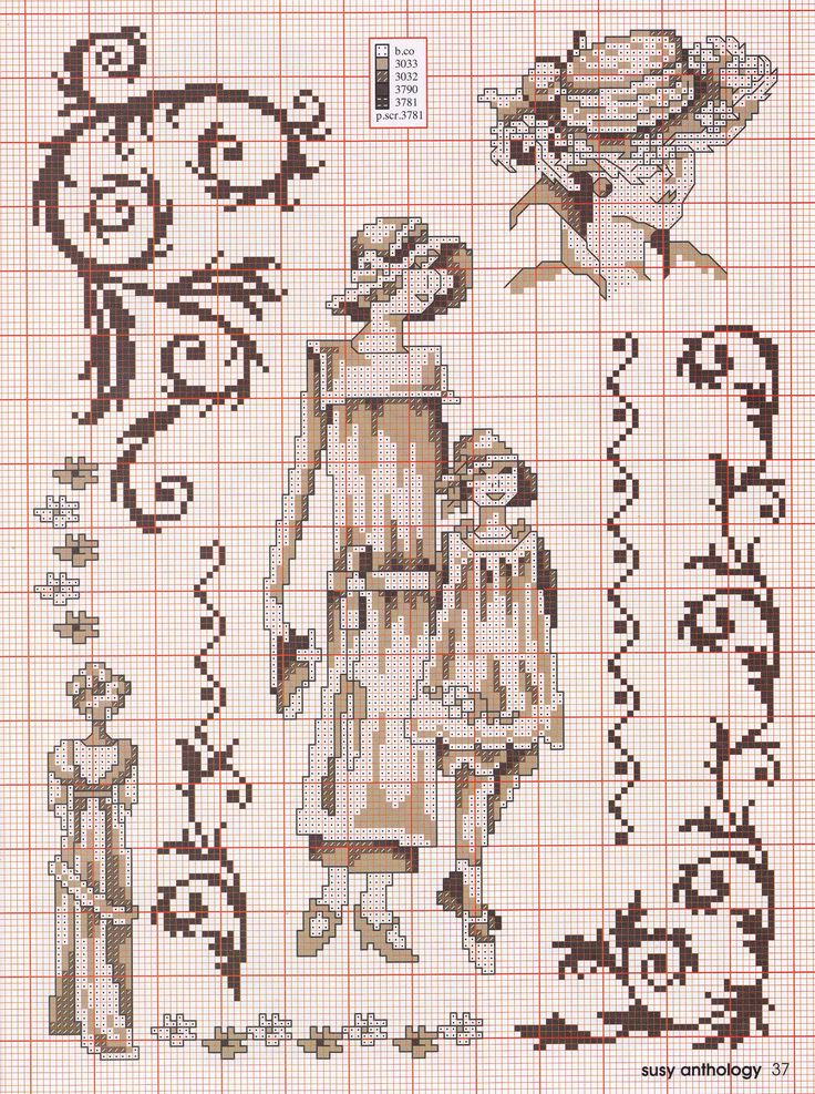 point de croix femme vintage - cross stitch woman