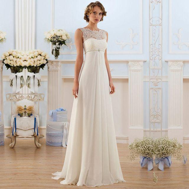 Ivory Modest 2016 Wedding Dresses Empire Chiffon Bridal Dress Lace Long Plus Size Summer Robe De