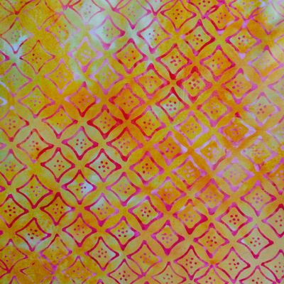 Red yellow batik fabric by the yard or fat quarter