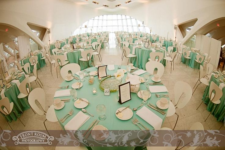 Mint Color Outdoor Ceremony Decorations: Mint Green Table Linens And White Chairs At The Milwaukee