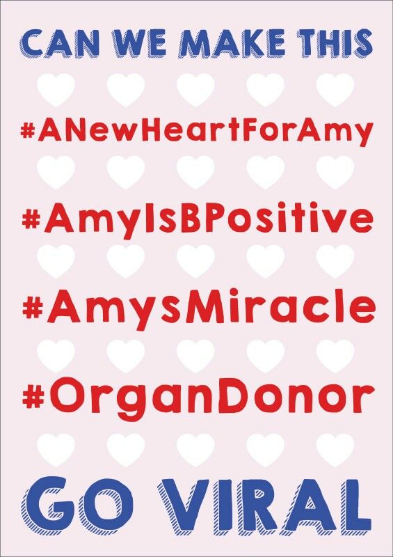 Help us make this go viral! #ANewHeartForAmy #AmyIsBPositive   Www.heartkids.co.za
