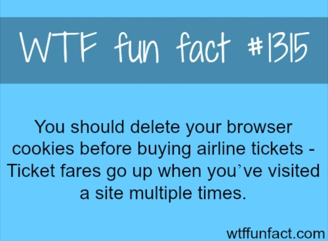 #1315 - You should delete you browser cookies before buying airline tickets - Ticket fares go up when you've visited a site multiple times