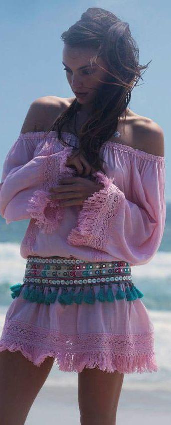 Bohemian pink minidress