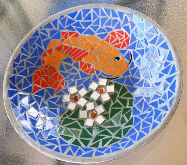 Mosaic Koi bowl. Made for Karen from an old Wok.