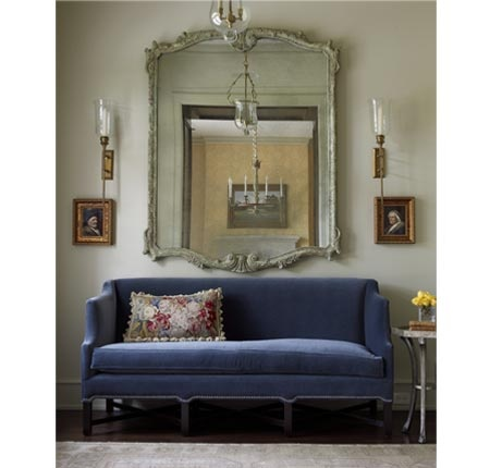 Bellacasa Design, love the mirror and sofa in the foyer