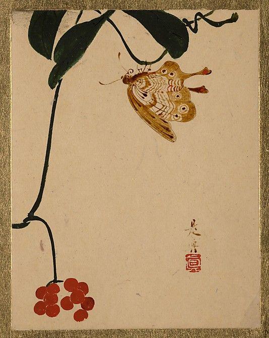 Red Berry Plant and Butterfly, Zeshin SHIBATA (Japanese, 1807–1891), Edo period, Album leaf; lacquer on paper, 11.4 x 8.9 cm ©The Metropolitan Museum of Art #Zeshin, #urushi_e, #Urushi, #Lacquer, #Laque, #Japan