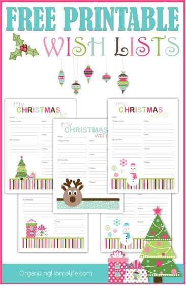 Printable Christmas Wish Lists | Organizing Homelife