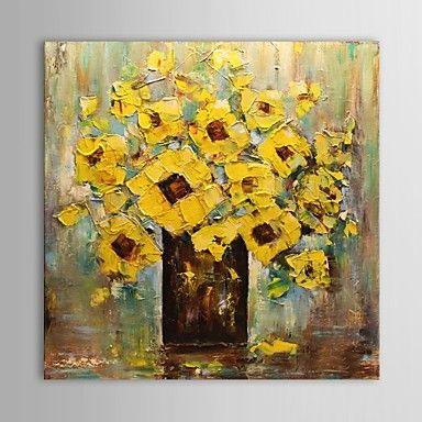 Hand Painted Oil Painting Floral Abstract Yellow Vase Flower with Stretched Frame – GBP £ 51.09