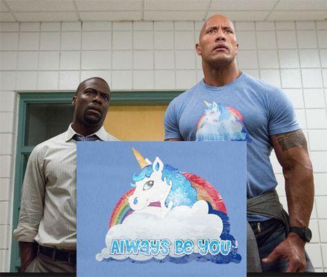 Funny Central Intelligence Kevin Hart Dwyane Rock Johnson Unicorn Always be you Tee T-Shirt