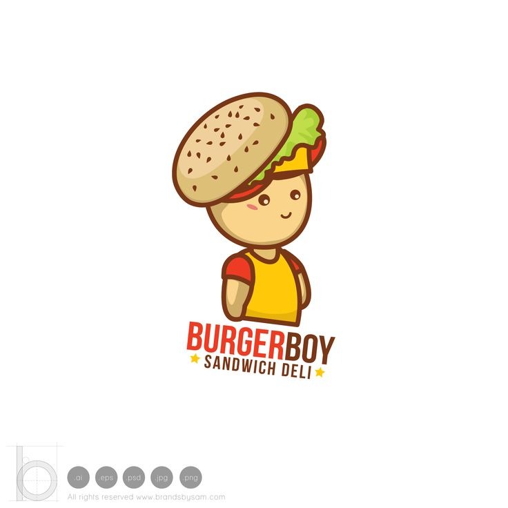 BurgerBoy Logo -  Character design suitable for food related product or a service. This logo includes a element of a boy wearing a burger cap.