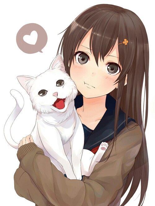 Anime girl, , brown hair, , brown eyes, , white cat, , blushing