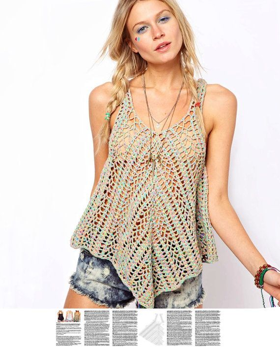 Crochet top PATTERN, detailed instructions in ENGLISH for every row, sexy beach crochet top, boho crochet PATTERN crochet beach tank top pdf