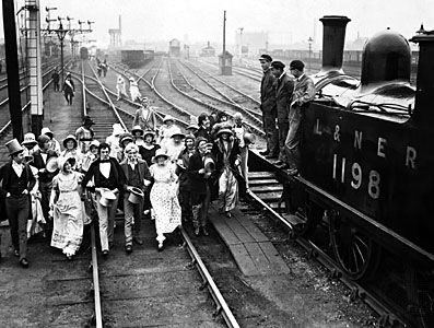On this day 27th September 1825, The world's first public railway service began with the opening of the Stockton and Darlington Railway, built by George Stephenson, the track was 27 Miles long and the steam locomotive Active pulled 32 passenger wagons at ten miles per hour (Stockton & Darlington Railway: centennial, 1925)