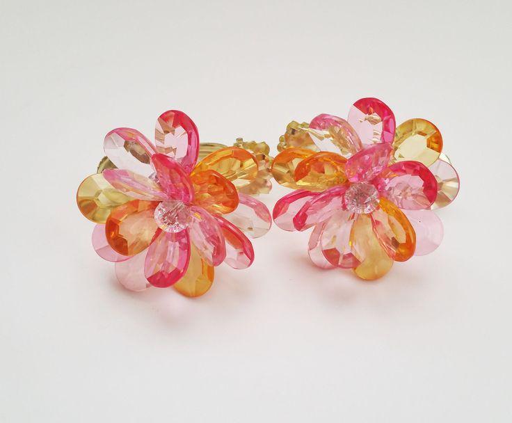 Crystal Shiny Flower Curtain Clip Holdbacks - Set of 2 Tropical Multi ...