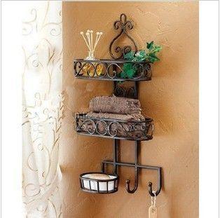 Hierro estante baño toalla de hierro forjado de hierro en rack rack de jabón pared del baño de hierro de montaje en estante estantes-inBathroom de mejoras para el hogar en Aliexpress.com $ 46.47