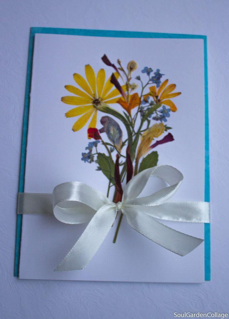 Pressed flowers art Botanical art Oshibana OOAK Greeting card Birthday card Get well card Wedding card by SoulGardenCollage on Etsy