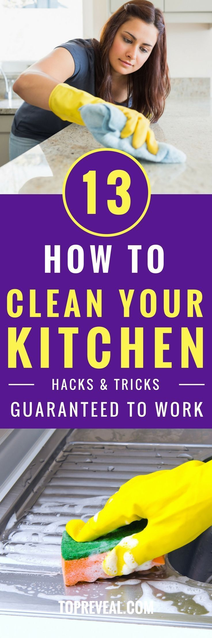 Do you love it when your kitchen sparkles and shines, but hate all the work it takes to get it that way? Well, so do I! Cleaning your kitchen can be time consuming, expensive, and frustrating. You buy all these cleaners and tools, spend hours scrubbing your stove, countertop and refrigerator, and half the time it doesn't even work. #kitchen #kitchenimprovement #homeimprovement #housekeeping #cleaning #kitchencleaning