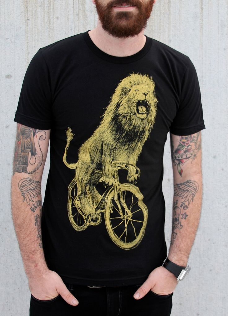 Mens T Shirt - Lion on a Bicycle - American Apparel Custom Color Options by darkcycleclothing on Etsy https://www.etsy.com/listing/129455452/mens-t-shirt-lion-on-a-bicycle-american