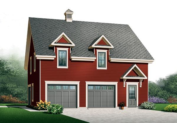 32x32xbonus room and 2 car 3rd storage bay garage plan for 2 bay garage plans