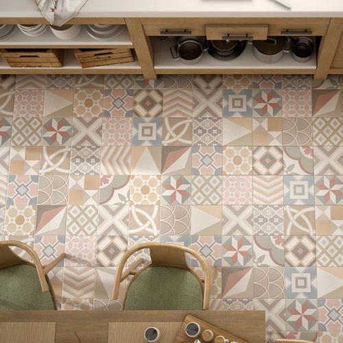 Découvrez notre patchwork pastel de la collection caprice décor de equipe ceramica